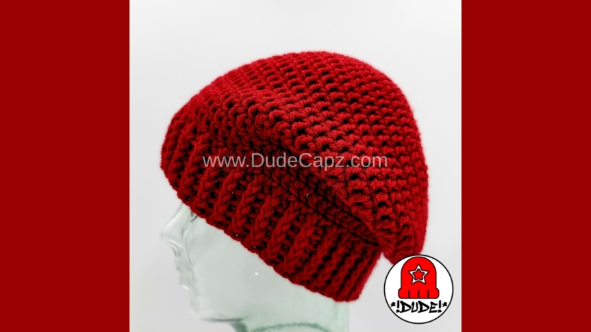 MEN'S SOLITUDE SERIES CROCHET SLOUCHY BEANIE 001 IN CRANBERRYCOLOR