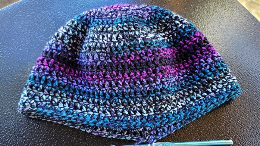 WIP 001 CROCHET SLOUCHY BEANIE FOR HER IN MOODY MOSAICSCOLORWAY