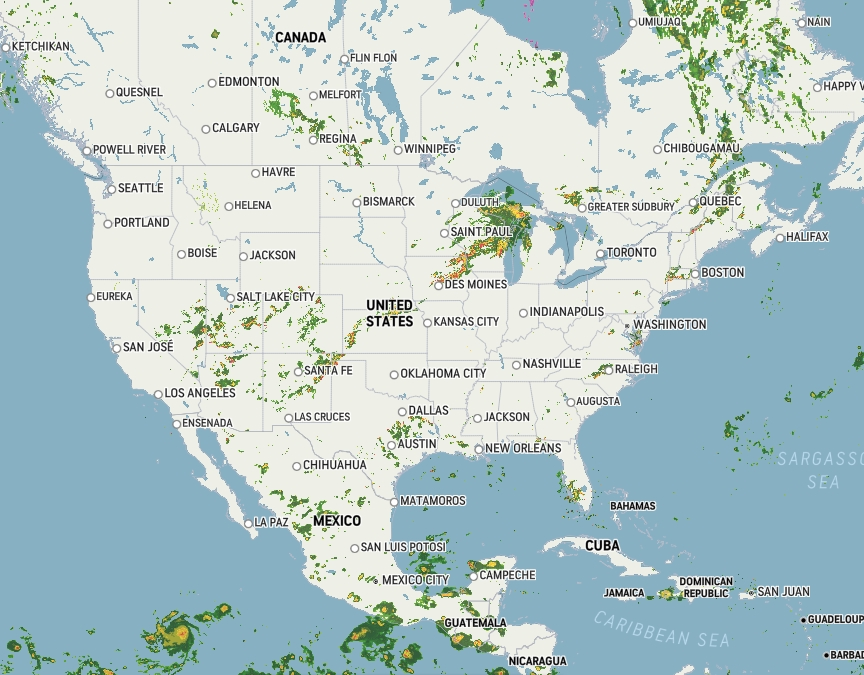 National weather map Wednesday, July14th, 2021 at 7:20 PM CST.