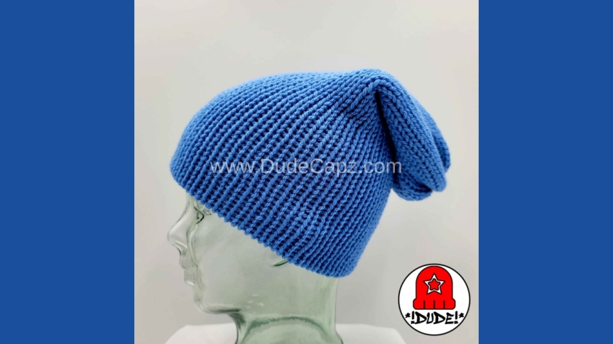 MEN'S NIGHTWATCH SOLID COLOR KNIT SLOUCHY BEANIE 001 IN MEDIUMBLUE