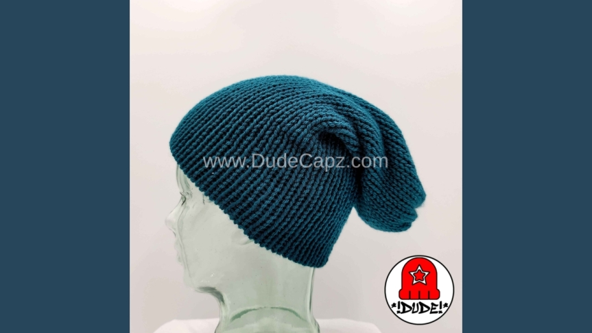 MEN'S NIGHTWATCH SOLID COLOR KNIT SLOUCHY BEANIE 002 IN ANTIQUETEAL