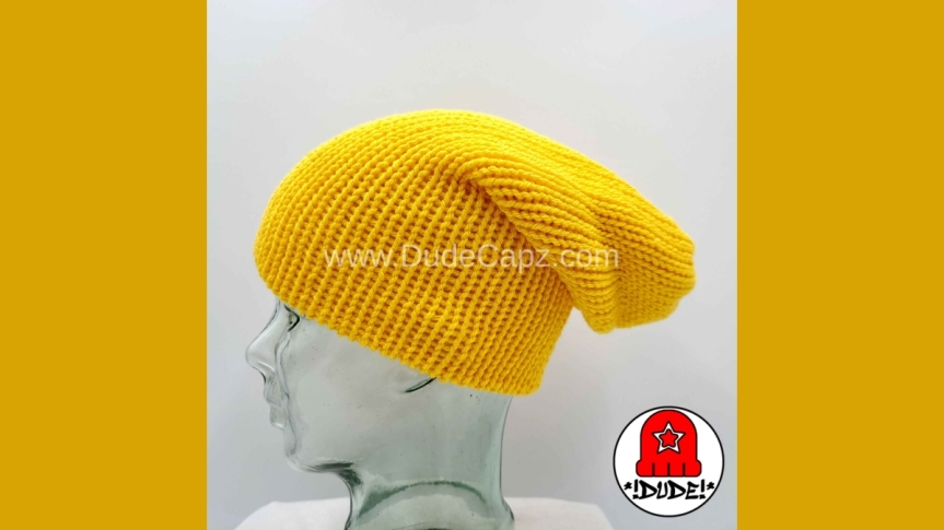 MEN'S NIGHTWATCH SOLID COLOR KNIT SLOUCHY BEANIE 003 INYELLOW